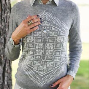 J. Crew Gray Merino Wool Holiday Sweater